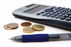 Calculator, Pen, and Coins